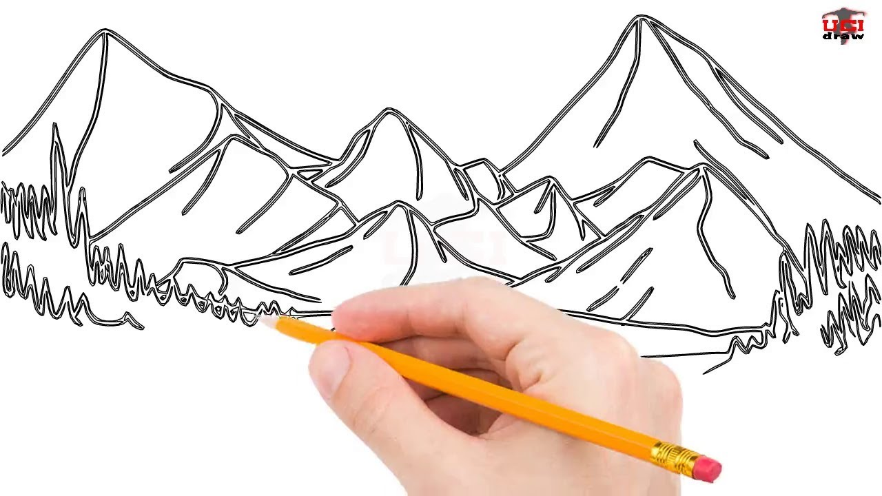 How To Draw Mountains Step By Step Easy For Beginners Kids Simple