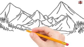 mountain drawing simple draw mountains step easy drawings beginners paintingvalley
