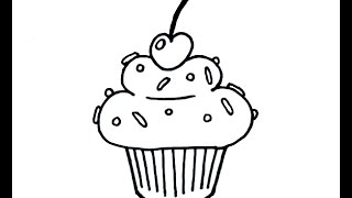 How to Draw a Simple Cartoon Cupcake - Beginner