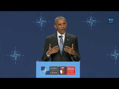 President Obama Holds a Press Conference at Nato  - Summit in Warsaw, Poland