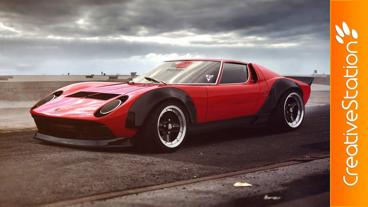 Lamborghini Miura Virtual Tuning Speed Art Photoshop