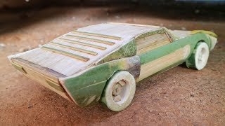 How to make Miniature Musle Car from bamboo. Lamborghini Miura.