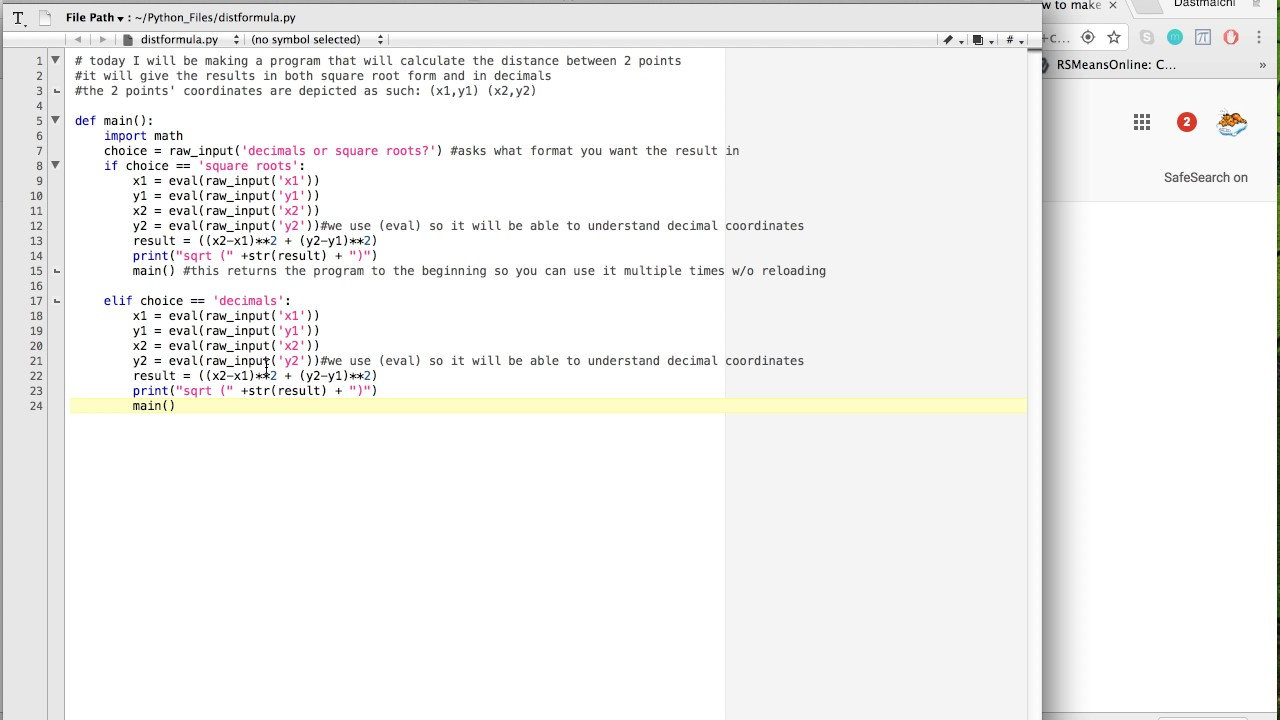 distance formula calculator - python 2 7 - beginner level
