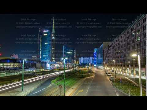 Milan skyline with modern skyscrapers in Porta Nuova business district night timelapse hyperlapse in