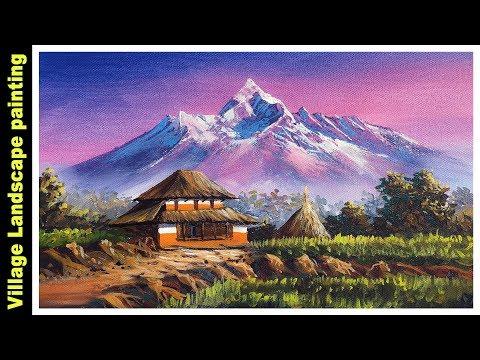 Village Scenery in Beautiful Landscape |Acrylic Nature Painting Tutorial |Nepali Landscape Painting