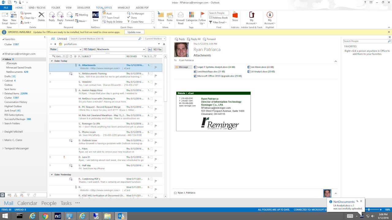 outlook 2016 download attachments from multiple emails