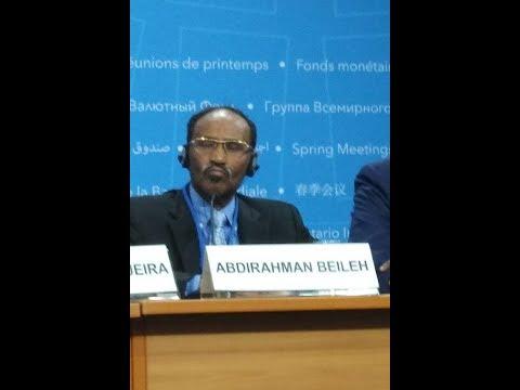 Somalia Finance Minister Dr. Abdirahman Dualeh Beileh #IMFMeetings