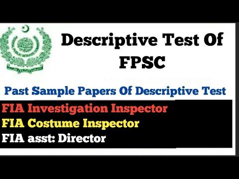 Descriptive test of FPSC,   Descriptive Test of All FIA Test