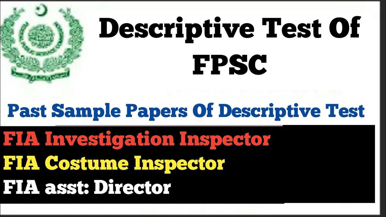 Descriptive test of FPSC,   Descriptive Test of All FIA Test   Past  Descriptive Paper FPSC