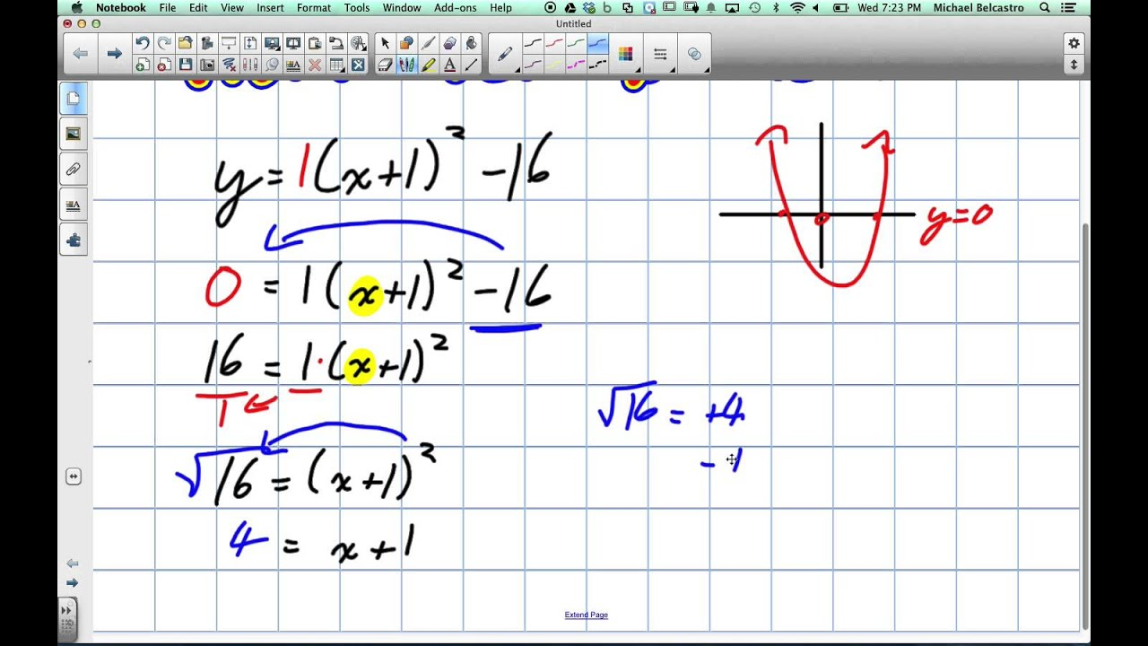 Solving X Intercepts from Vertex Form Grade 10 Academic Lesson 6 5 ...