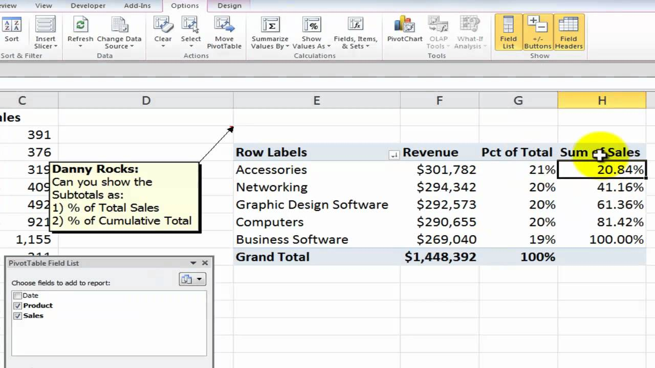 also how to show values as percentages of in excel pivot tables youtube rh