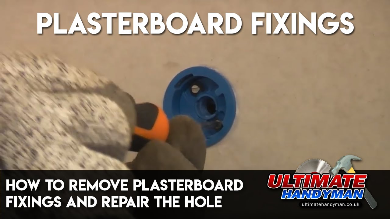 how to remove plasterboard fixings and repair the hole in the plasterboard youtube. Black Bedroom Furniture Sets. Home Design Ideas