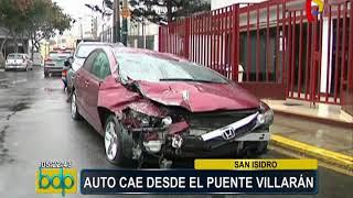 San Isidro: auto cayó desde el puente Villarán