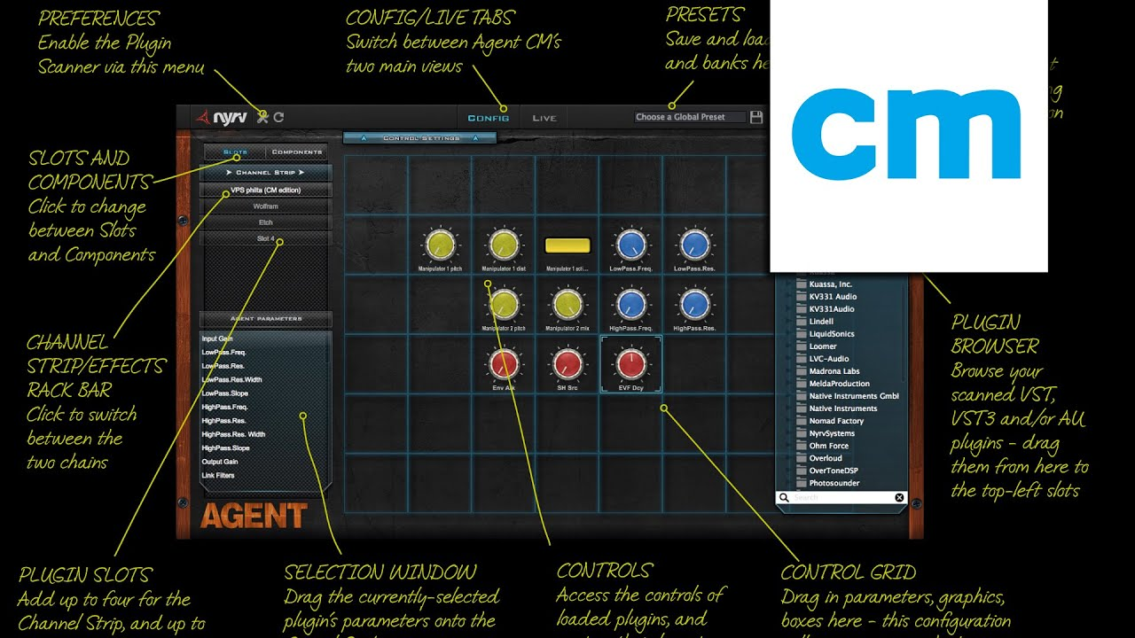 FREE VST/AU/AAX effects rack: NYRV Systems Agent CM on
