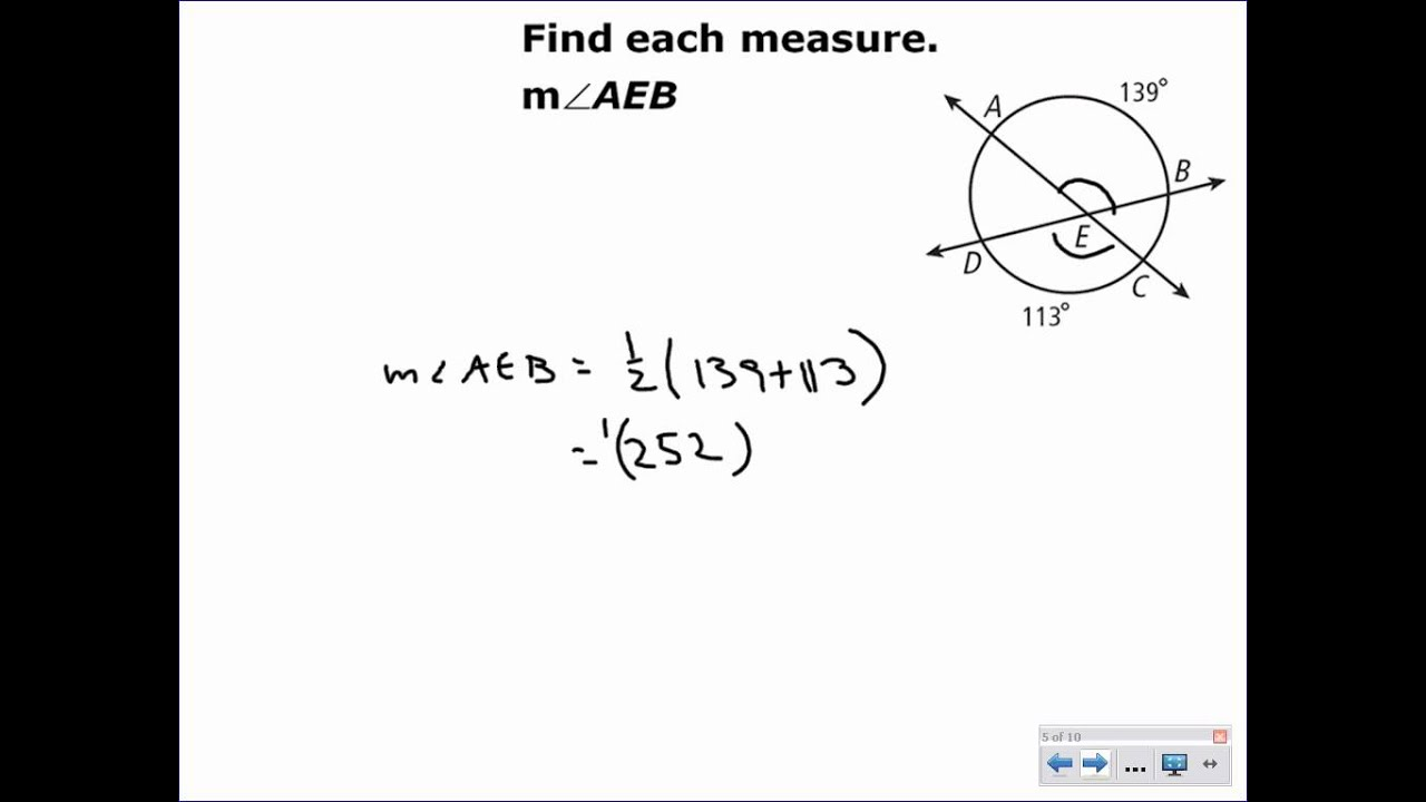 lesson 11-5 problem solving angle relationships in circles
