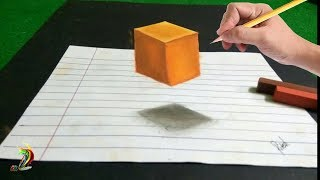 Very Easy - Floating Cube   3D Trick Art On Paper - Step by step tutorial for kids