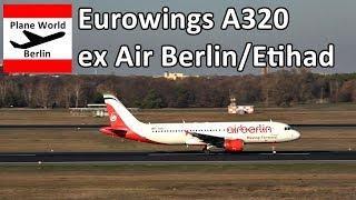 Eurowings Airbus A320 (ex Air Berlin / Etihad) takeoff Berlin Tegel Airport