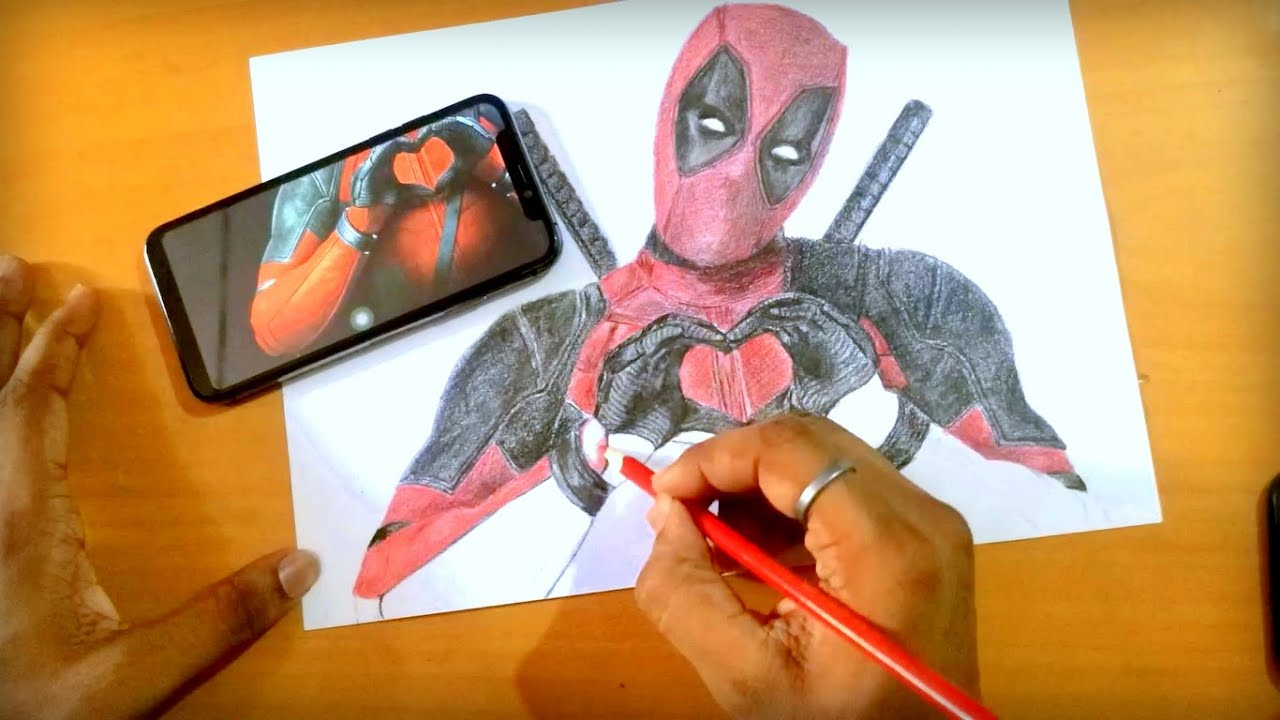 Drawing A Cute Lovely Deadpool Sketch With Colour Pencil Just Digit