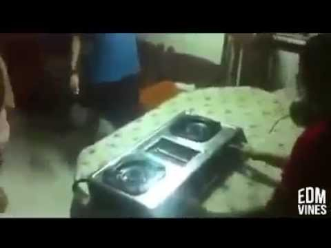 Dj mixing with Gas stove!! Funny Video!!