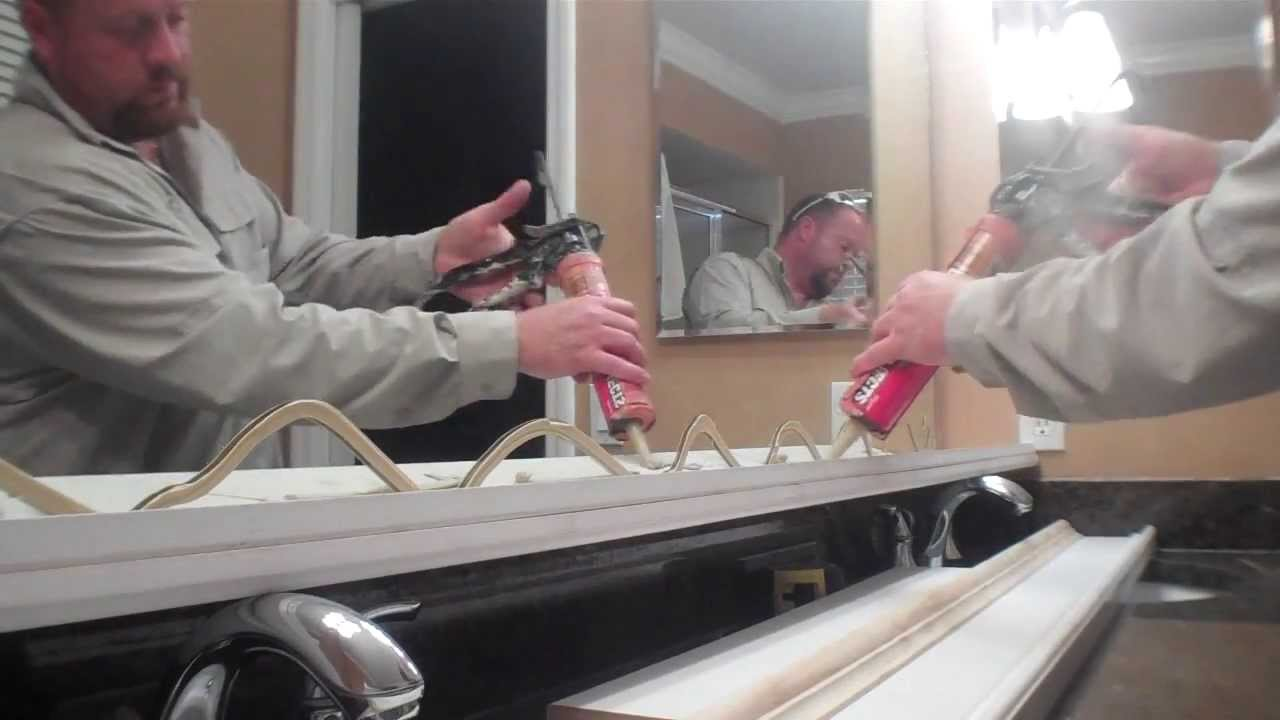 Framing Bathroom Mirror Over Metal Clips bathroom mirror frame out, diy - youtube