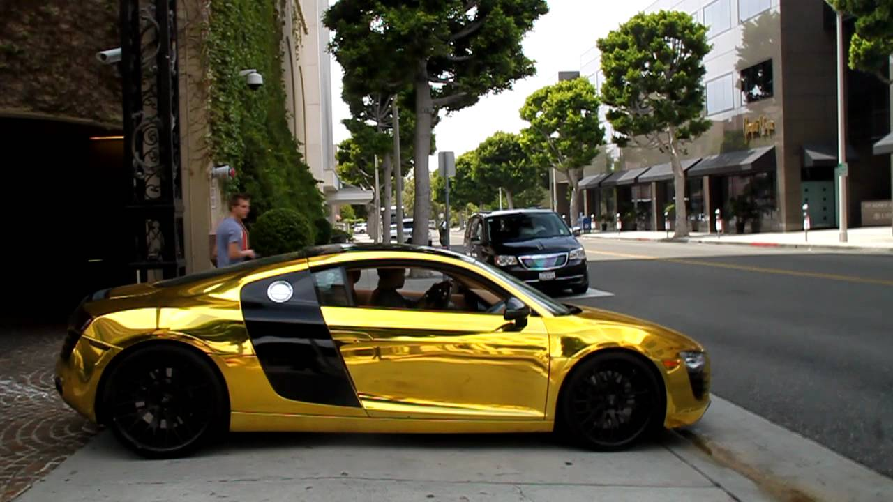 TYGA'S GOLDEN CHROME AUDI R8 DRIVE BY!! - YouTube