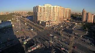 Смотреть видео LIVE CAMERA Road crossing Russia. St.Petersburg Stadium panorama. Стадион Санкт-Петербург онлайн