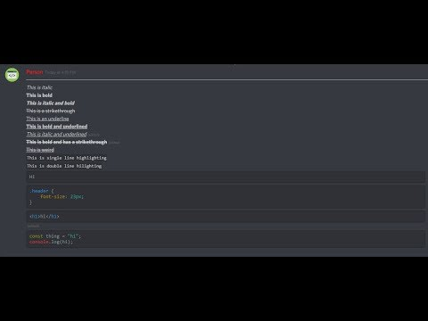 How to stylize text in Discord (Bold, Italic, Underline, Strikethrough,  Markup/Syntax Highlight)