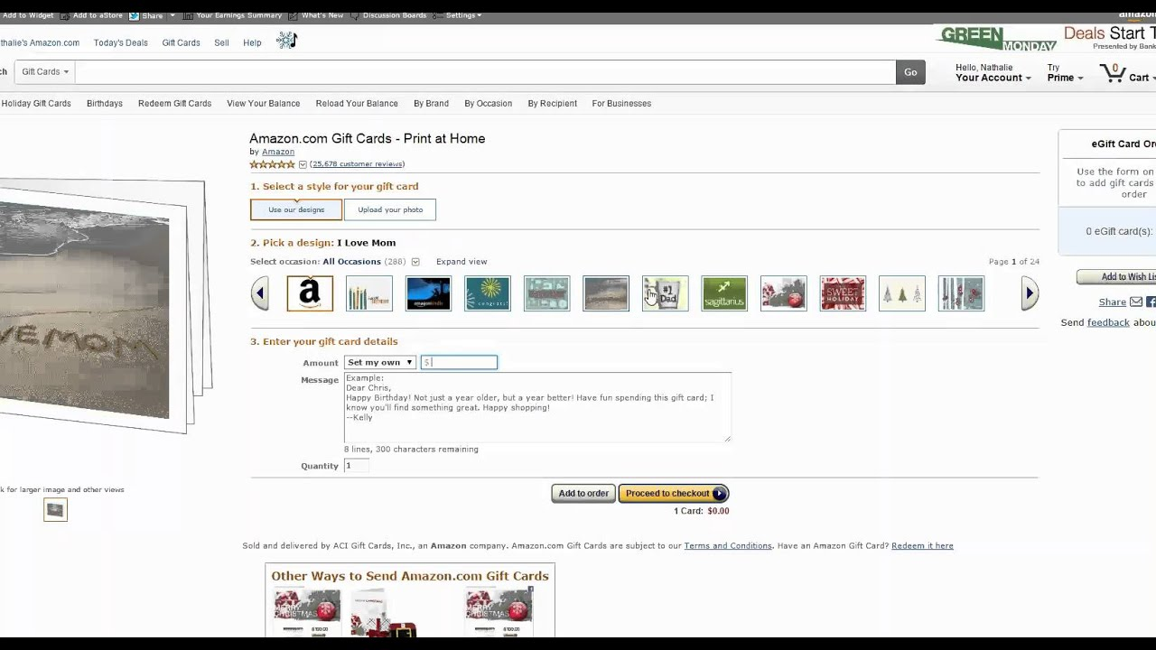 graphic relating to Amazon Printable Gift Card identified as Amazon Reward Card Print at Household