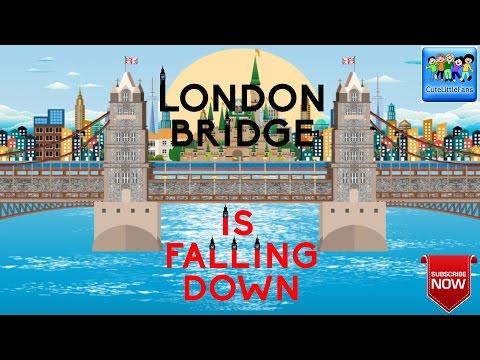 London Bridge Is Falling Down Nursery Rhyme with Lyrics | Kids Songs | CuteLittleFans