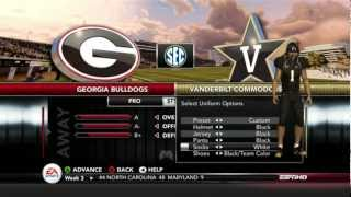NCAA 13 Vandy Dynasty - Season 2 - Week 4 vs. Georgia Bulldogs [Ep.17]