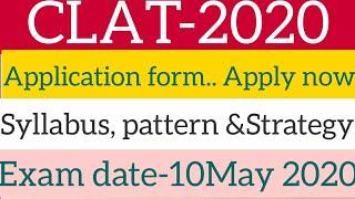 CLAT-2020!!Notification!!Syllabus, Pattern, strategy