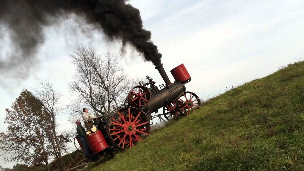 Hill climbing with a Minneapolis steam traction engine - YouTube
