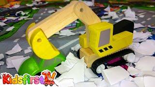 Kid's Toy Cars: Snow Road & Rescue Vehicles - Excavator & Bulldozer Winter Demo