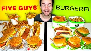 FIVE GUYS vs. BURGERFI - Cheeseburger Restaurant Taste Test!