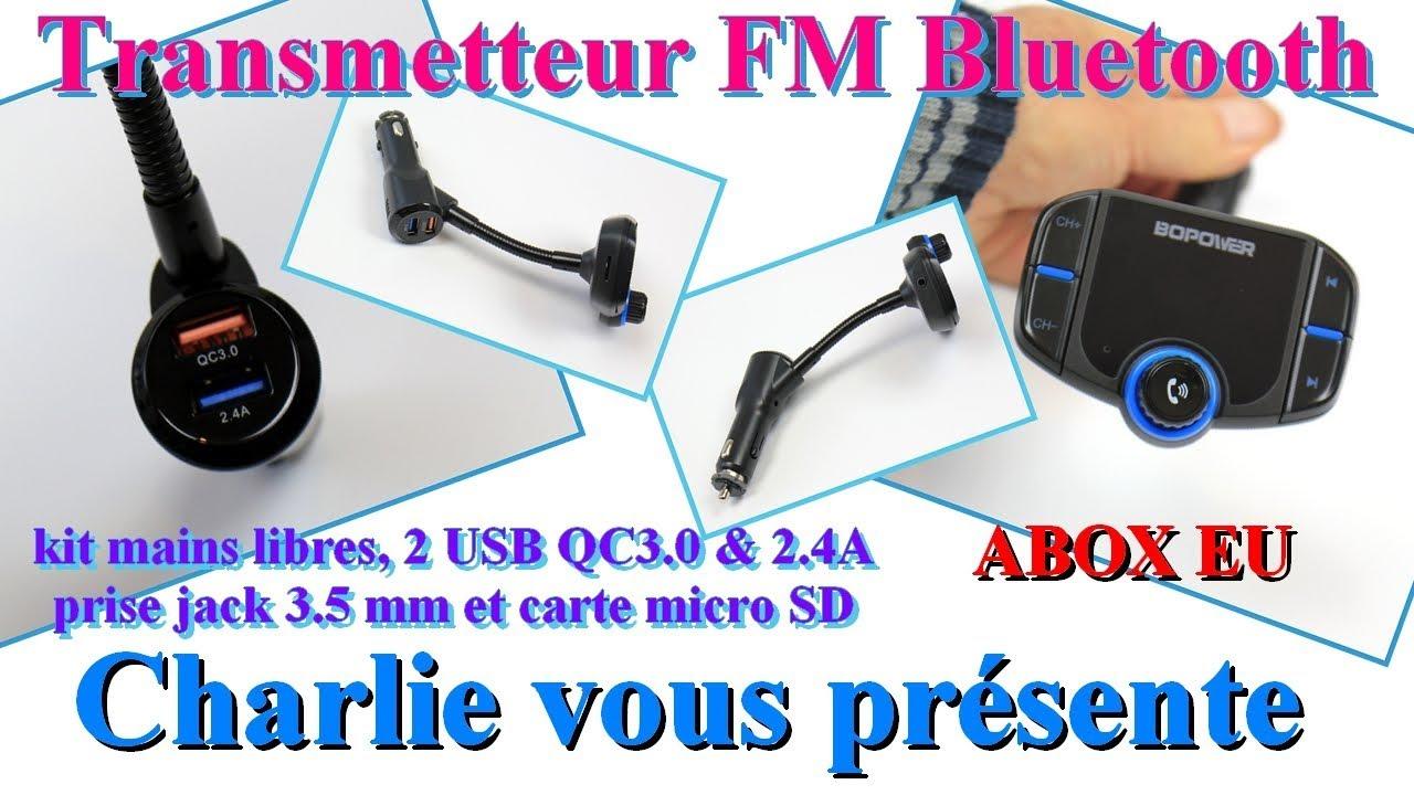 abox transmetteur fm bluetooth pour voiture kit mains libres 2 usb prise jack et carte micro sd. Black Bedroom Furniture Sets. Home Design Ideas