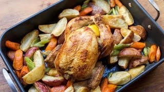 Roasted Garlic, Lemon and Thyme Chicken with Root Vegetables