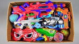 Box of Toys Change Colors Squishy Balls | Spider Guns motor bike mask Spider from Box of full Toys