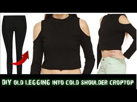6ee516ee Convert/Recycle/Reuse Old Leggings into cold shoulder crop top Only in 2  minutes/old leggings reuse