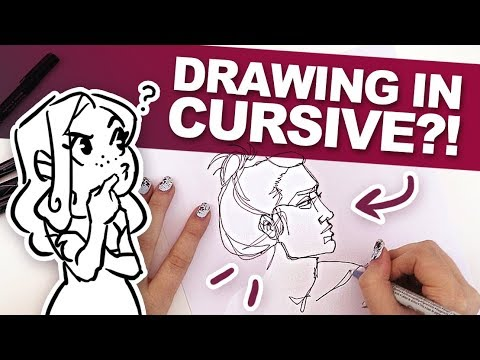 ONE CONTINUOUS LINE! | Can you Draw in Cursive? | Drawing without lifting the Pen