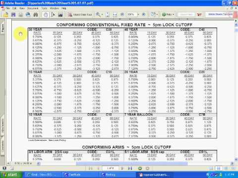 How to Read A Mortgage Rate Sheet - Part 1
