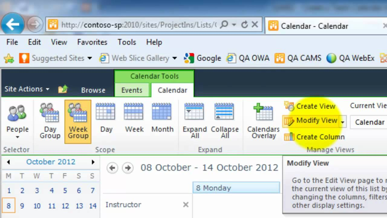 How To Create A Calendar Sharepoint How To Create A Resource Calendar In Sharepoint 2010 Qa0002 Create A Team Calendar Using Sharepoint Youtube