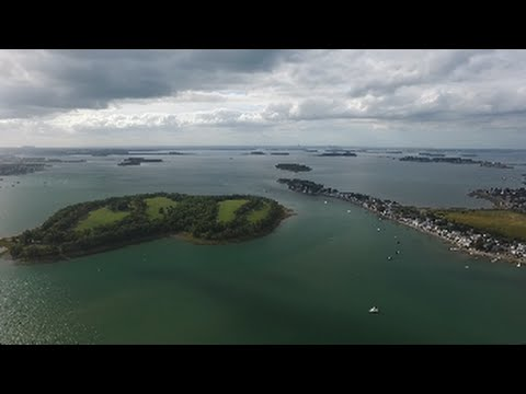 Hingham bay and South Boston Harbor, Drone Footage (Full Flight)