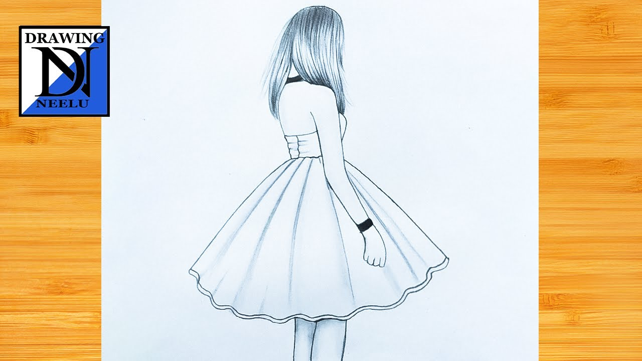 How to draw a girl drawing beautiful dress   Pencil drawing for beginner   simple drawing tutorial
