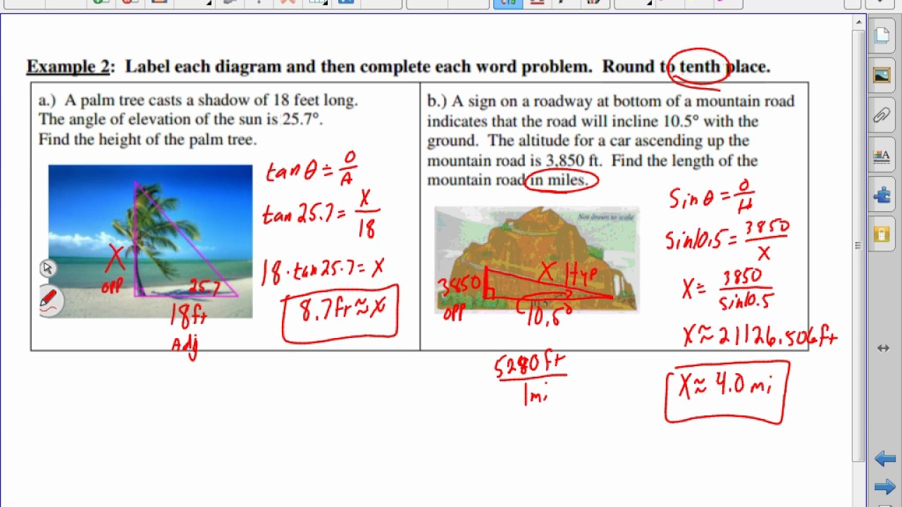 Angle Of Elevation And Depression Trig Word Problems Youtube