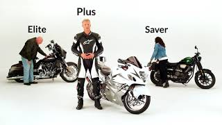 Three motorcycles - Elite, Plus, and Save