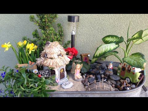 Spring Fairy Garden DIY with running water feature!!🍄🌷💗🎣🌲