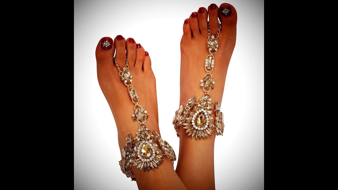 b97dc04519ee0 ... Holylove boho bling barefoot sandals foot jewelry with toe rings for  beach wedding and vacation!