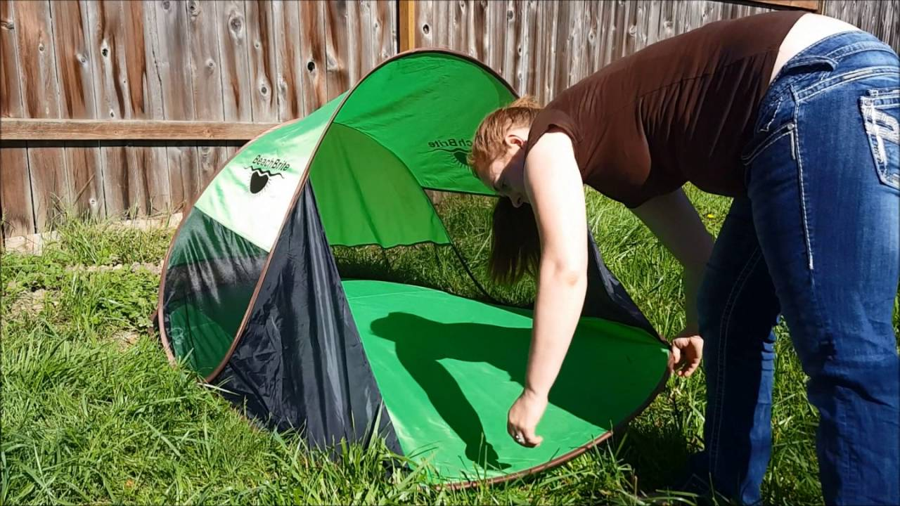 Beach Brite High Quality Instant Pop Up Family Tent & Beach Brite High Quality Instant Pop Up Family Tent - YouTube