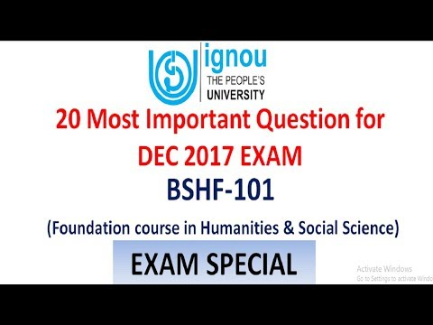 IGNOU BSHF101 PREPRATION || FOUNDATION OF HUMANITIES & SOCIAL SCIENCE IMPORTANT QUESTION FOR DEC TEE