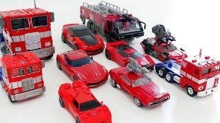 Red Color Transformers 10 Vehicle Transformation Robot Car Toys 레드색 트랜스포머 10대 자동차 장난감 로봇 변신 동영상